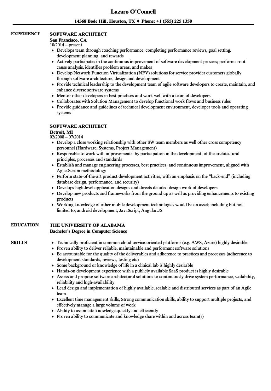 resume sample software architect