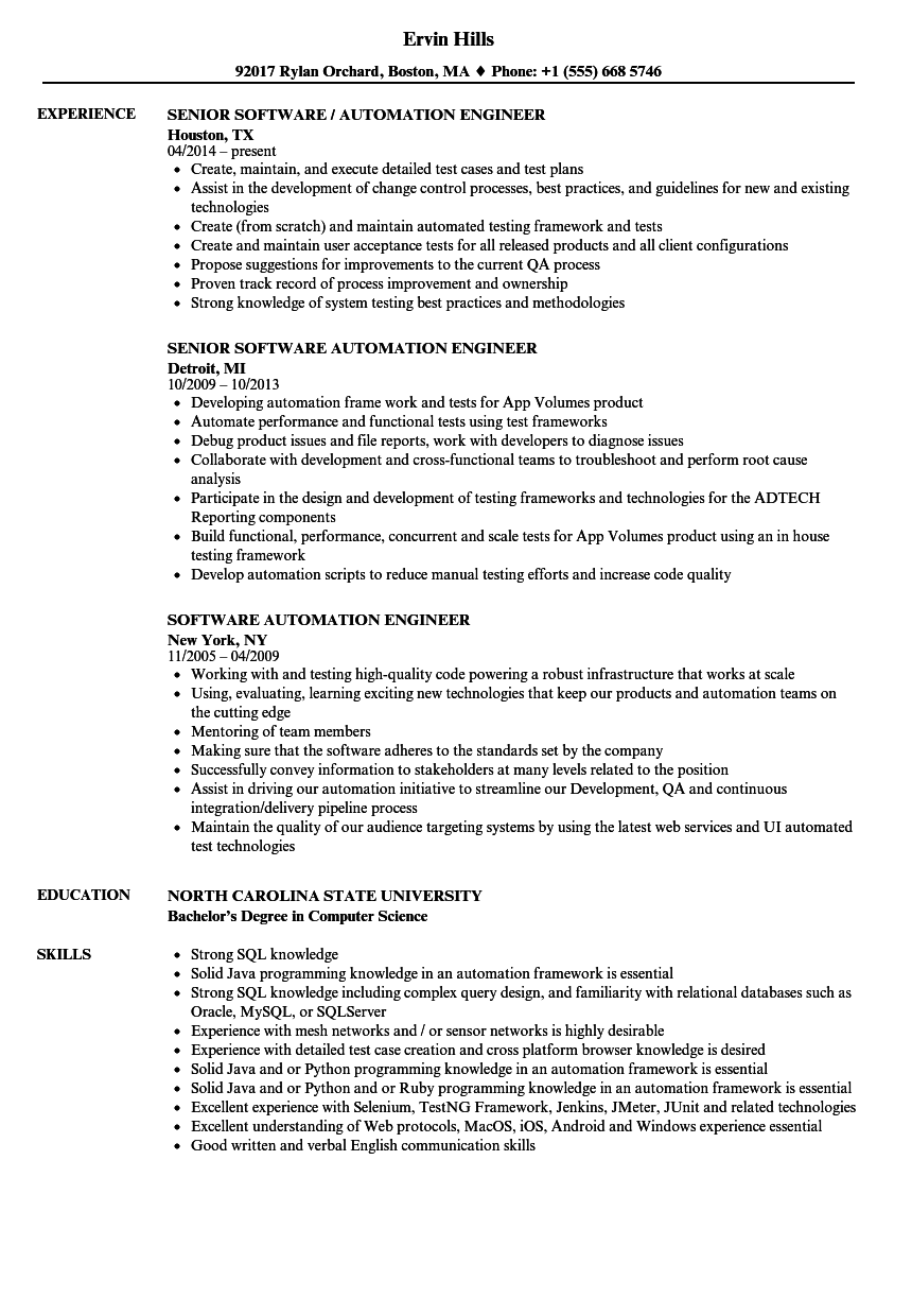 automation resume examples