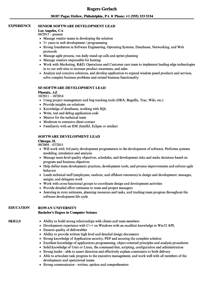 computer science resume examples team lead