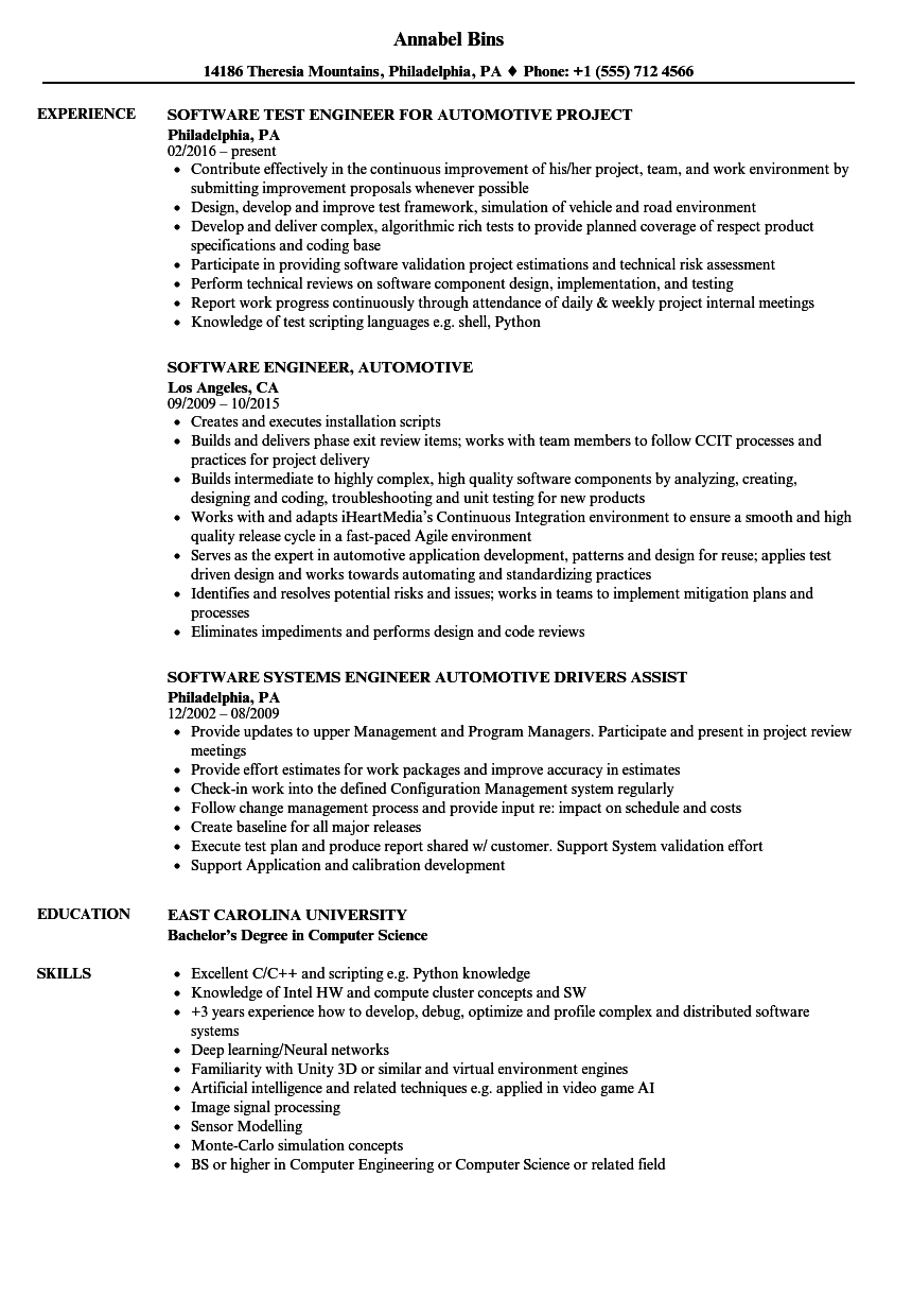 sample resume for software engineer with 3 years experience