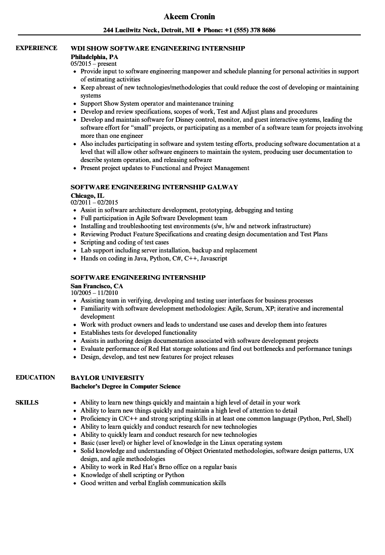 software engineer internship sample resumes