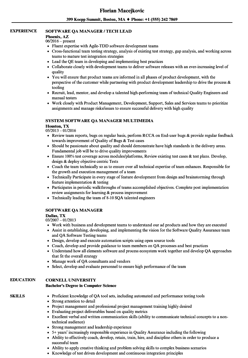 sample resume for qa qc manager