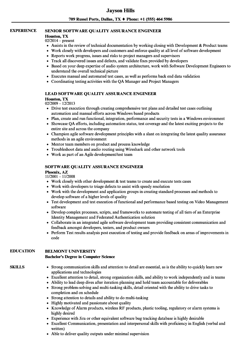 resume for software quality assurance