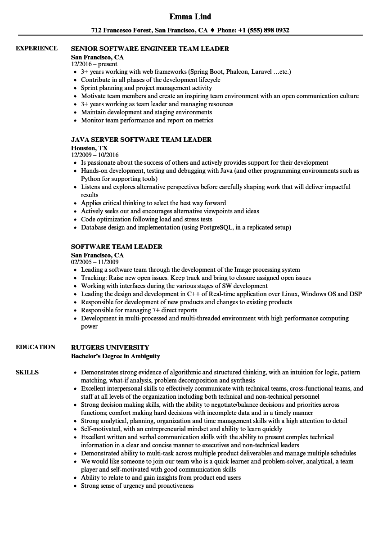 java team lead resume sample
