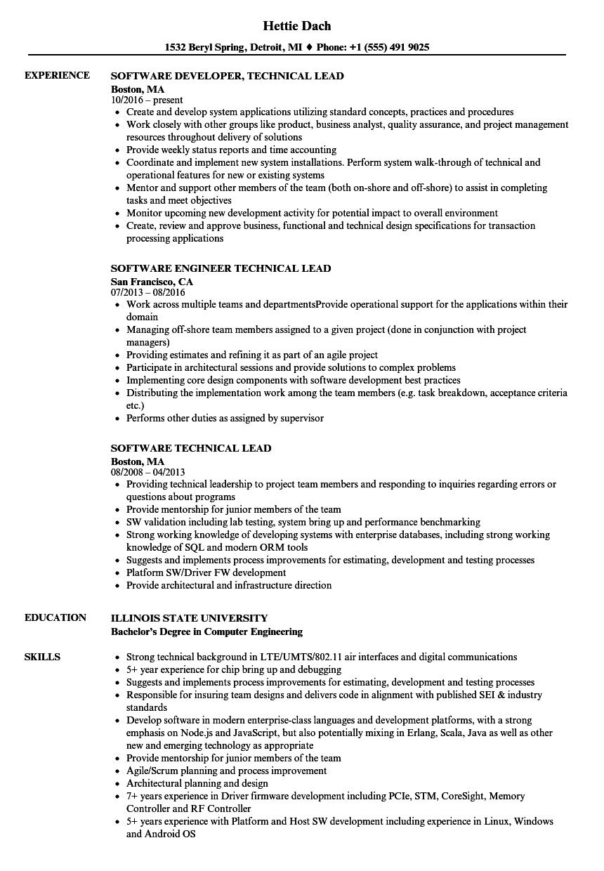 technical lead resume