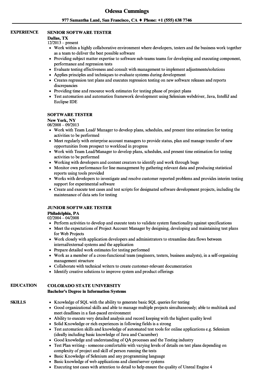 resume for software testing jobs