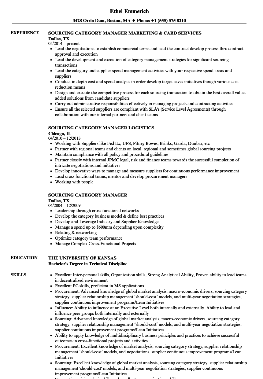 resume category meaning