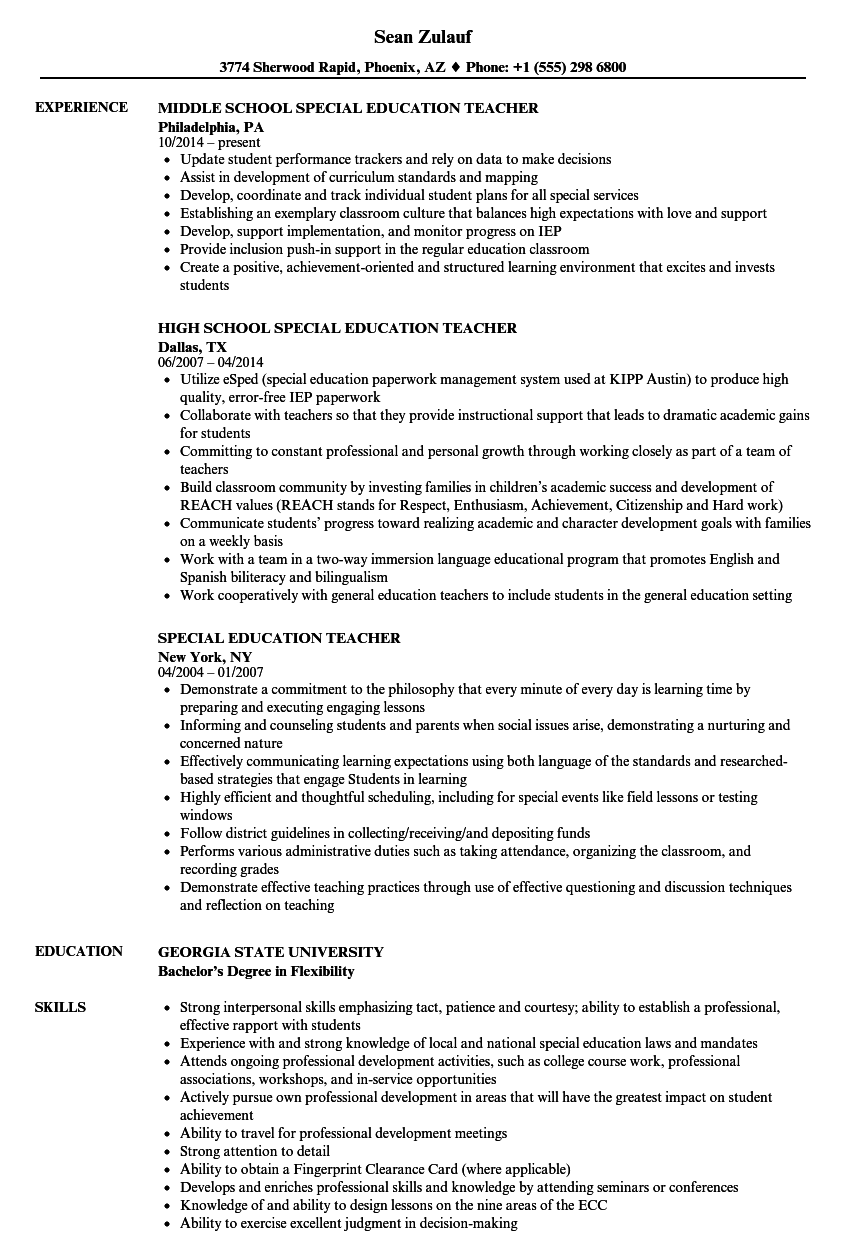 example of resume for special education teacher