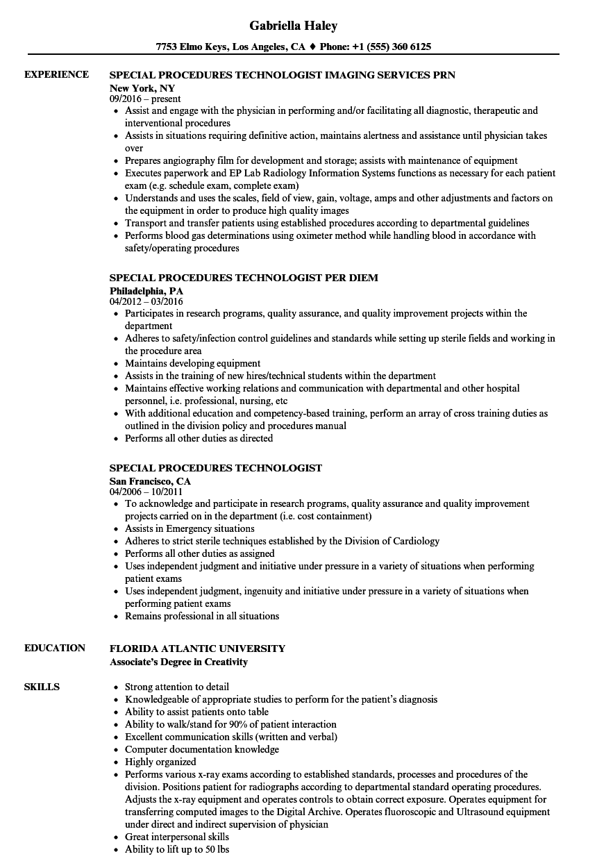 resume sample of medical technologist