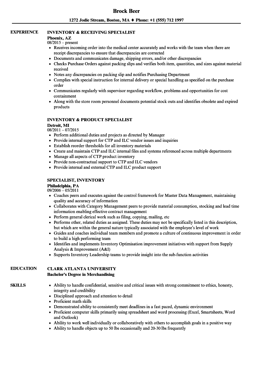 inventory manager sample resume