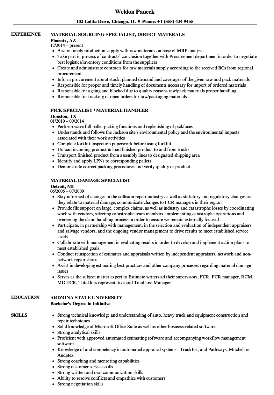 material handler specialist resume sample