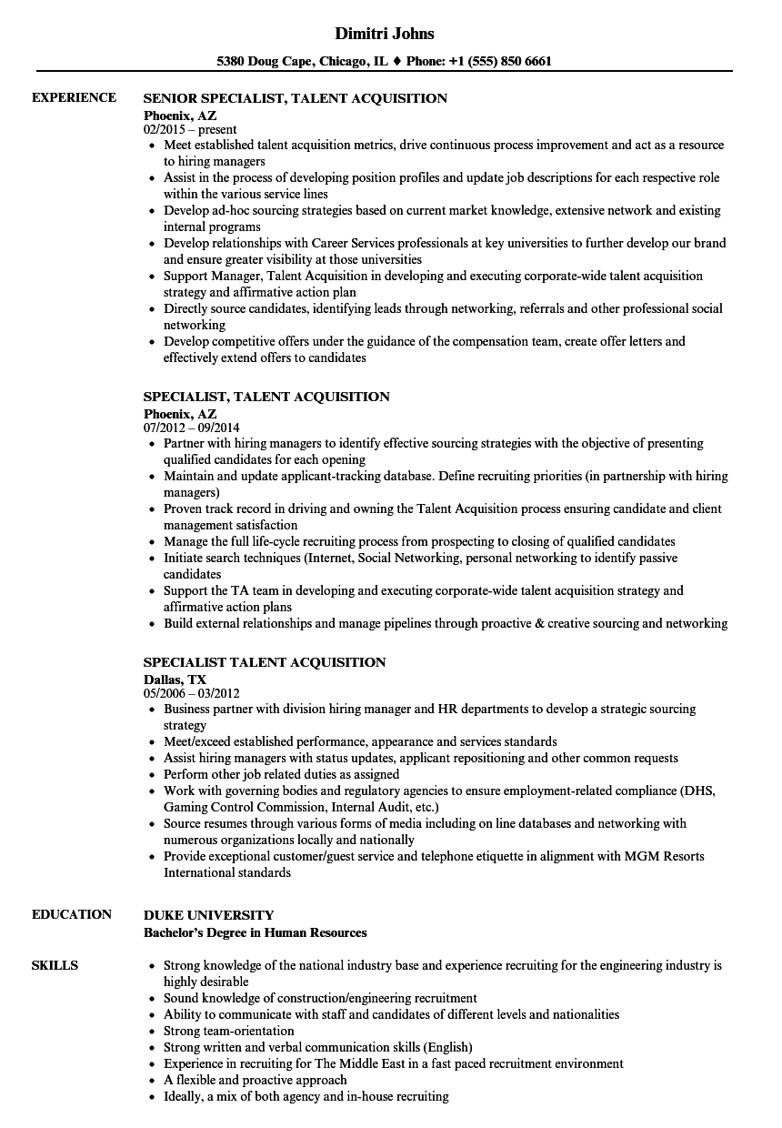 talent acquisition specialist resume sample
