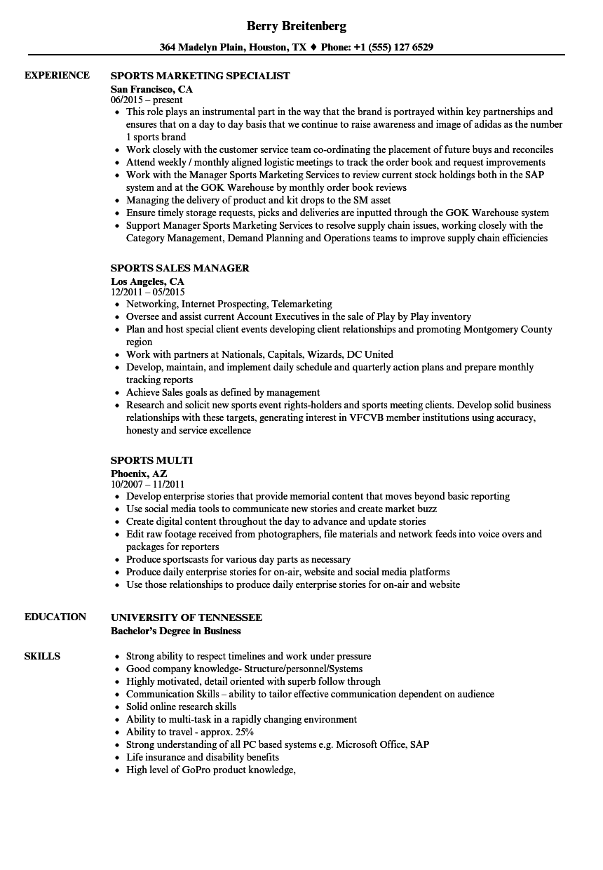 resume samples for sports jobs