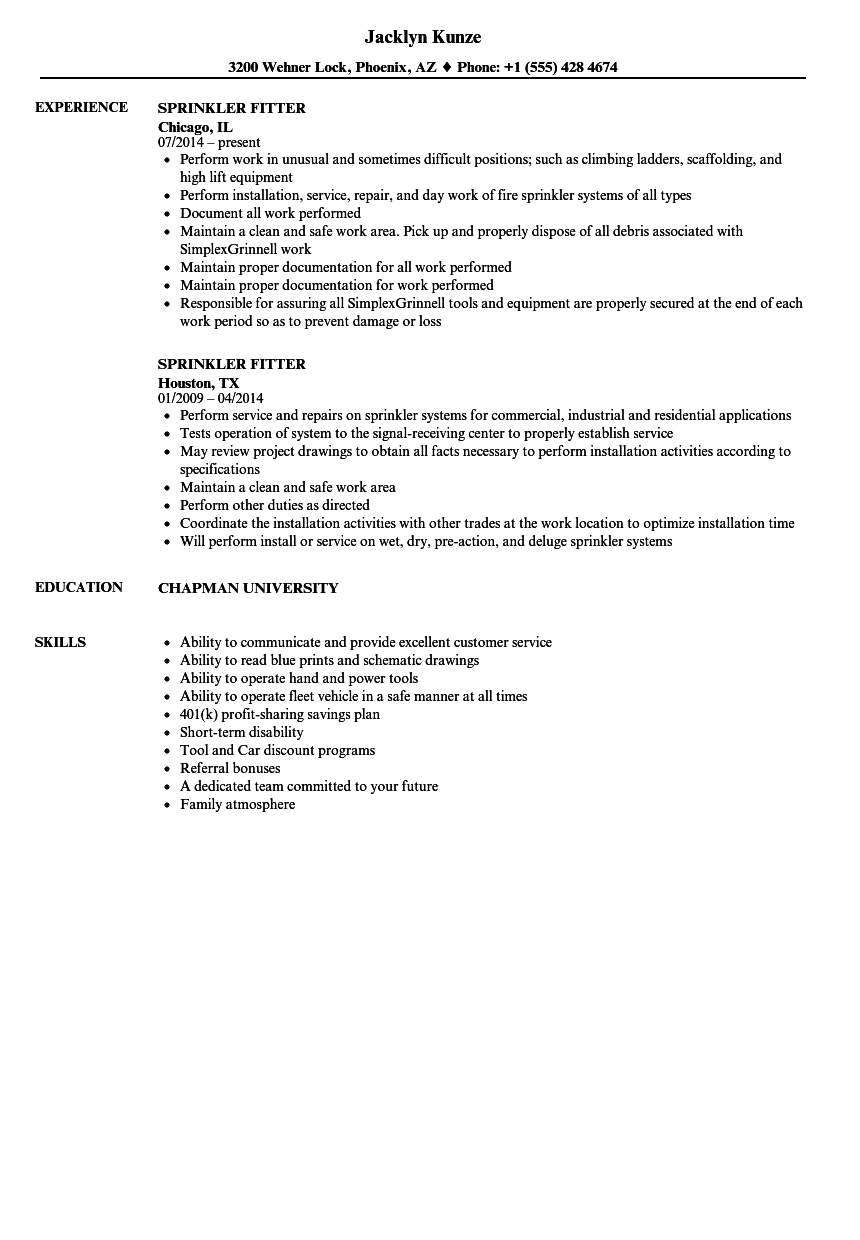 sample resume for building