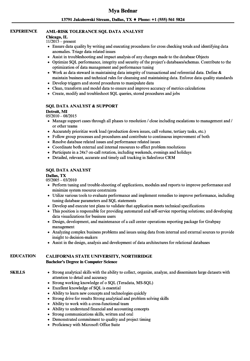 sql data analyst sample resume