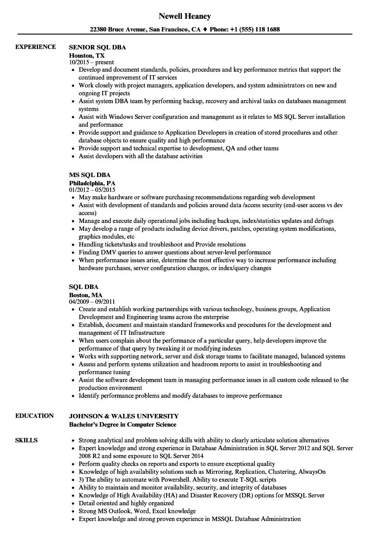sql server dba resume sample