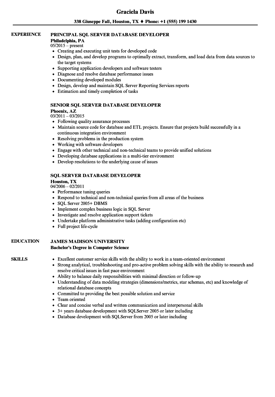 sample resume for sql server job