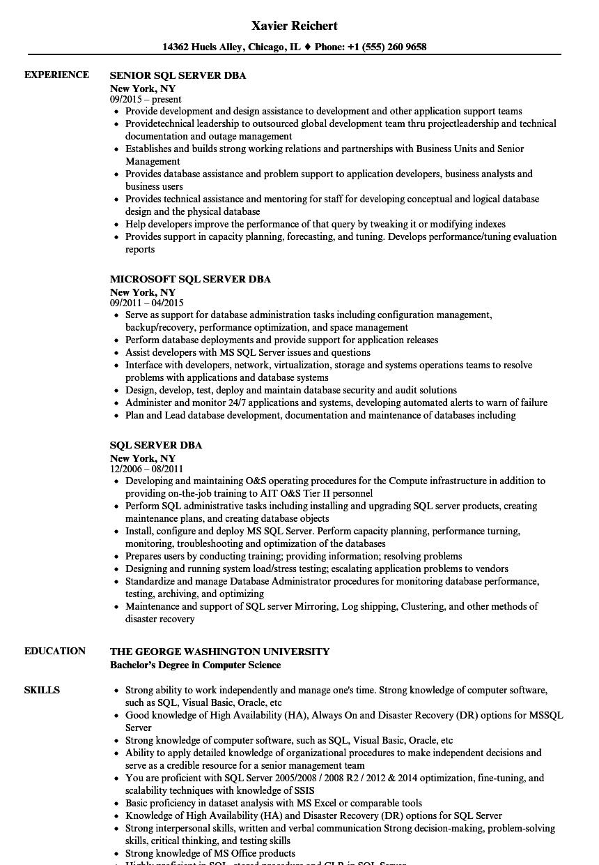 sql server administrator resume sample