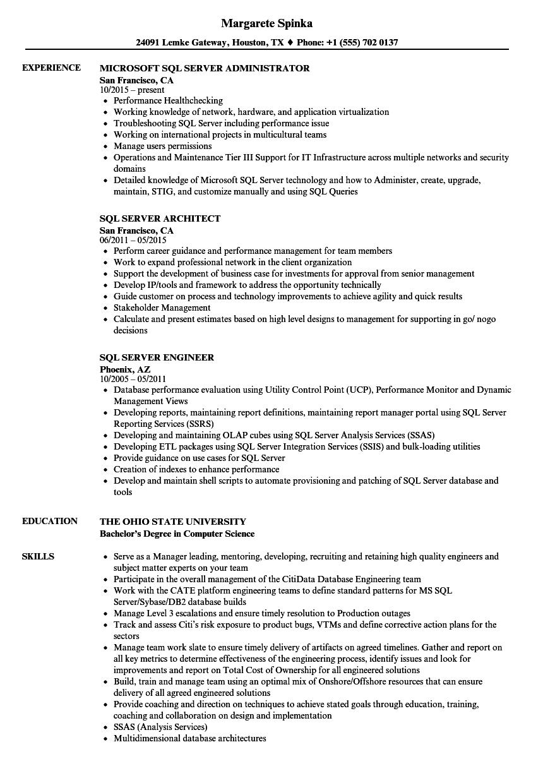 sql server developer resume samples