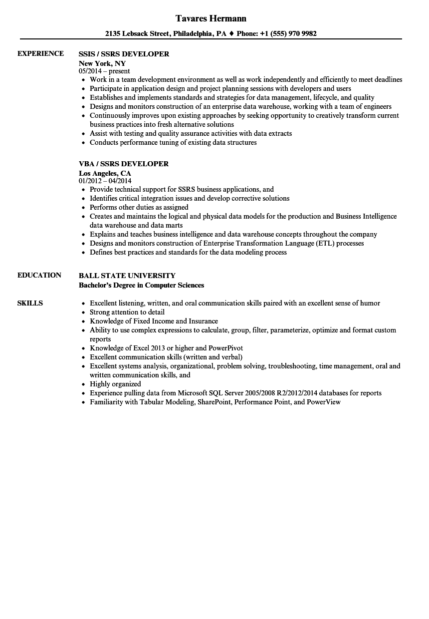 ssrs in resume sample