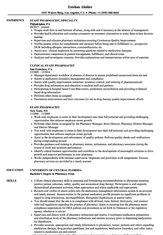 pharmacist intern resume sample