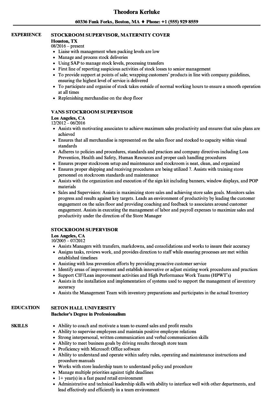 resume samples for stock supervisor