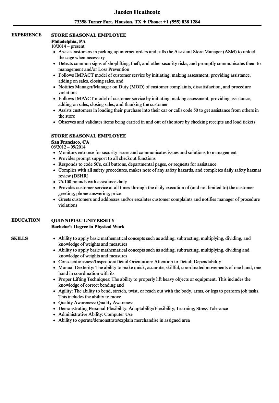 sample resume objective for seasonal job