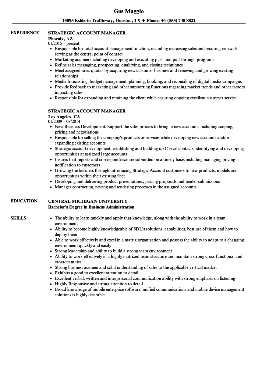national account manager resume