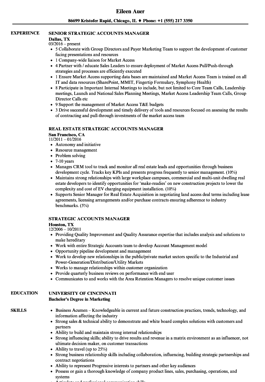 strategic account manager resume sample