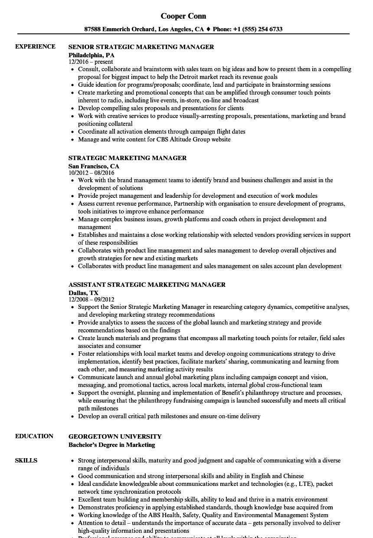 strategic marketing manager sample resume