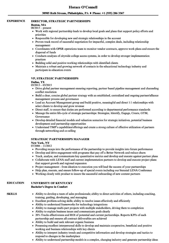strategic management resume samples