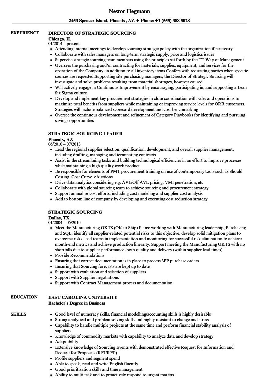 strategic sourcing resume sample