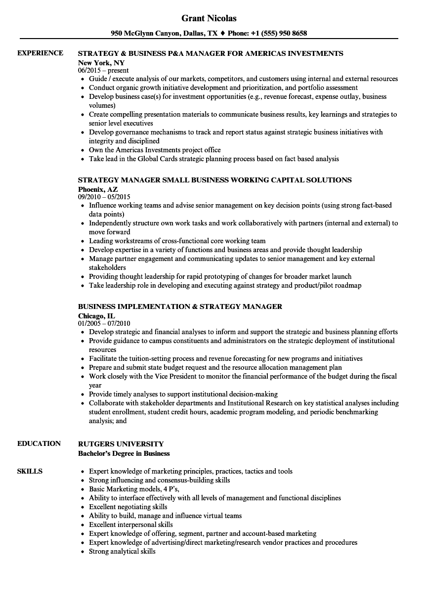 business manager cv sample