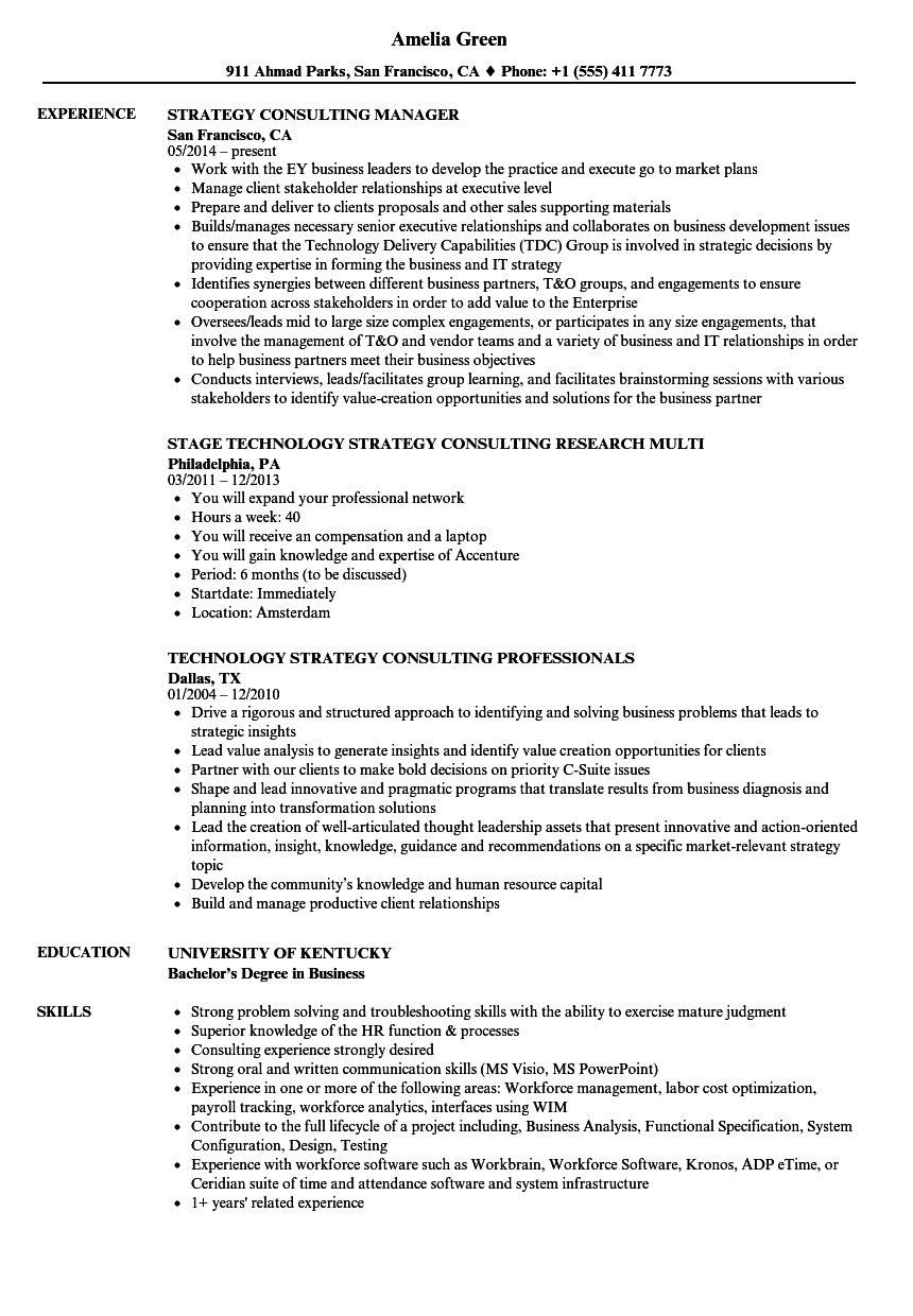 best consulting resume examples