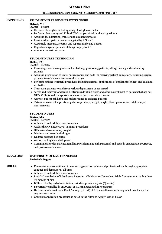student nurse extern resume sample