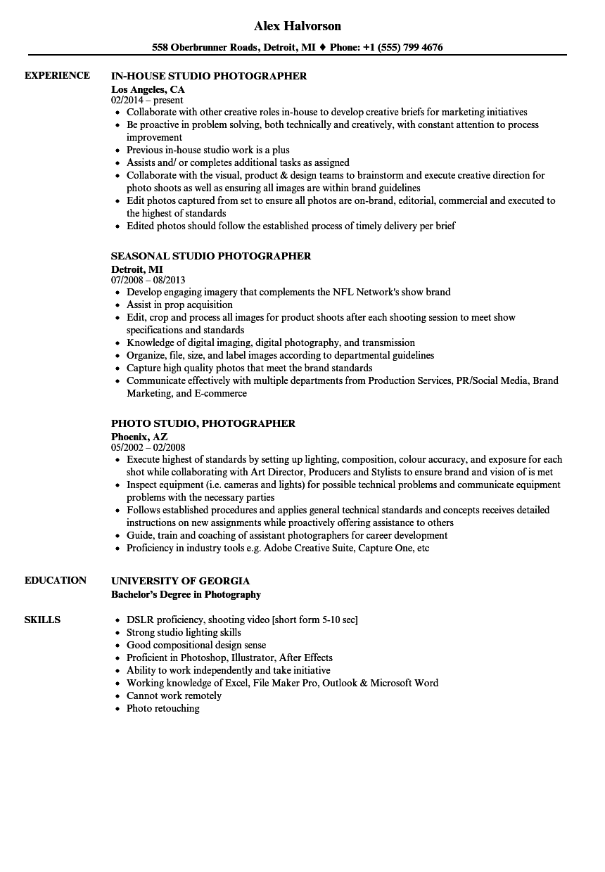 assistant photographer resume examples