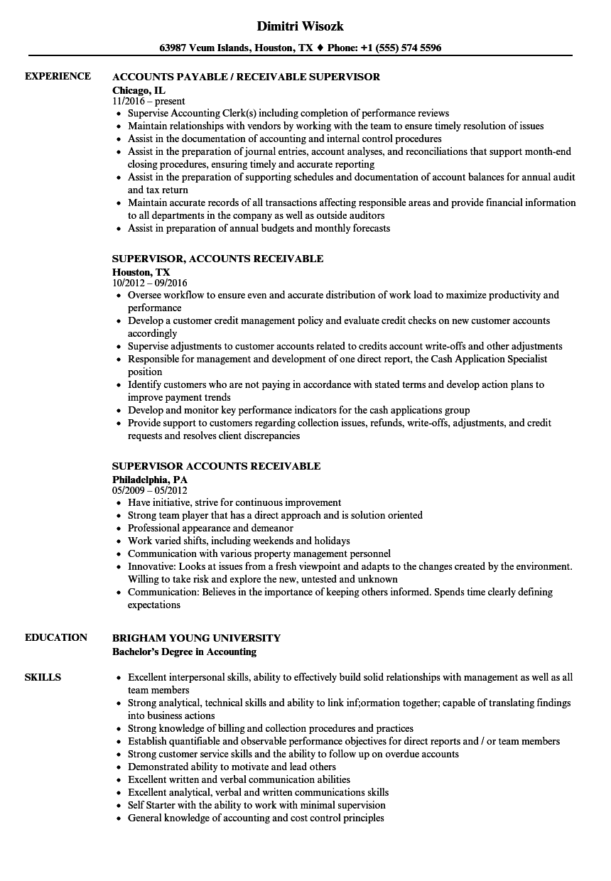 sample accounts receivable supervisor resume