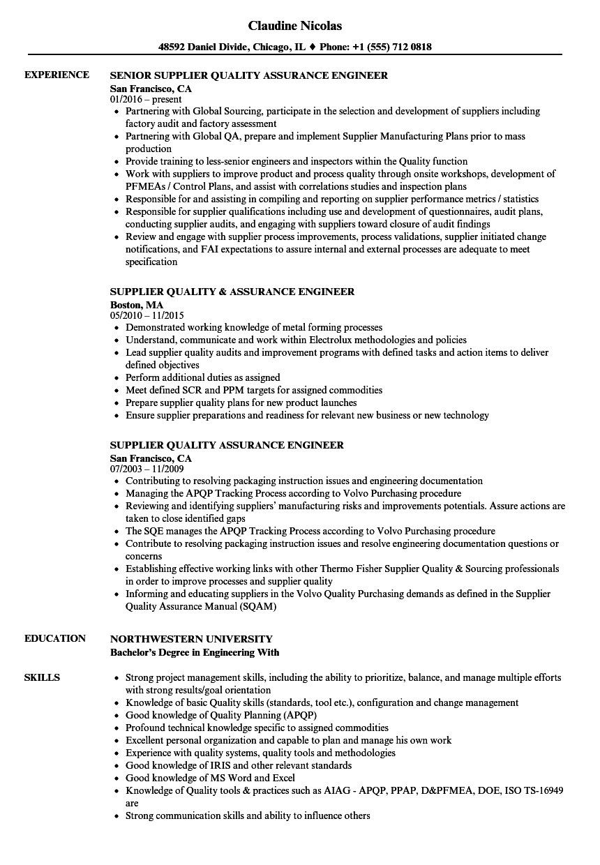 best quality assurance engineer resume sample