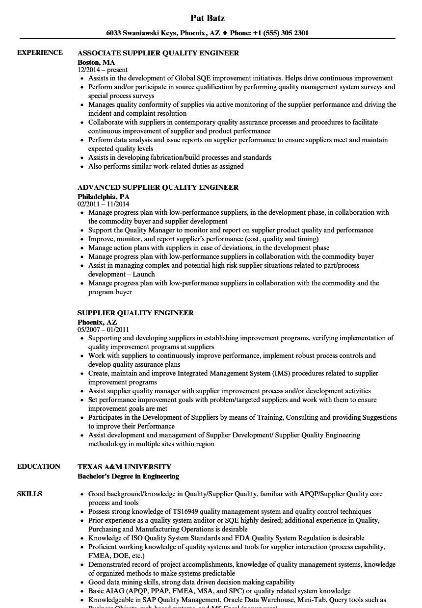 supplier quality engineer resume examples