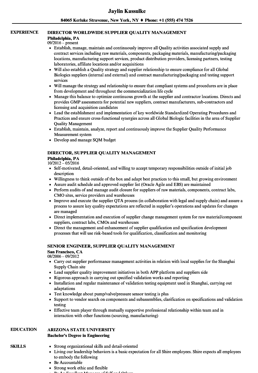 sample resume supplier quality manager