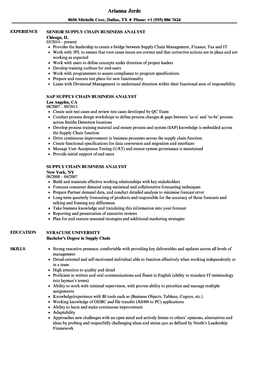 supply chain management resume examples
