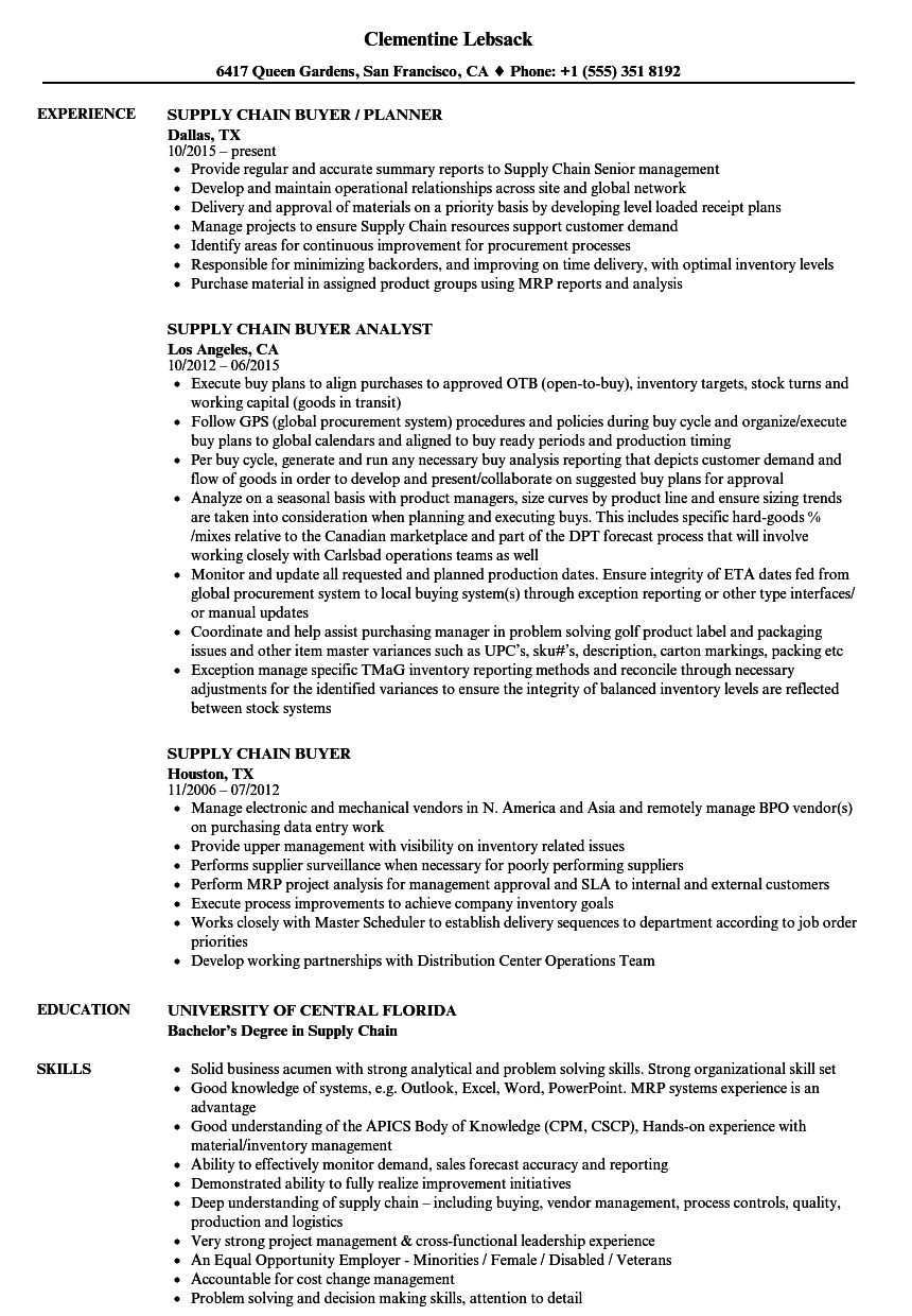 resume examples for buyer position
