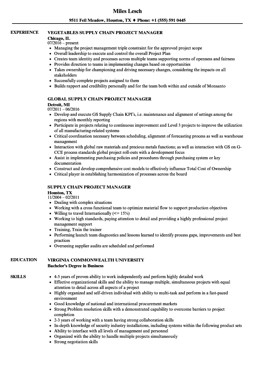 sample resume for project manager in manufacturing