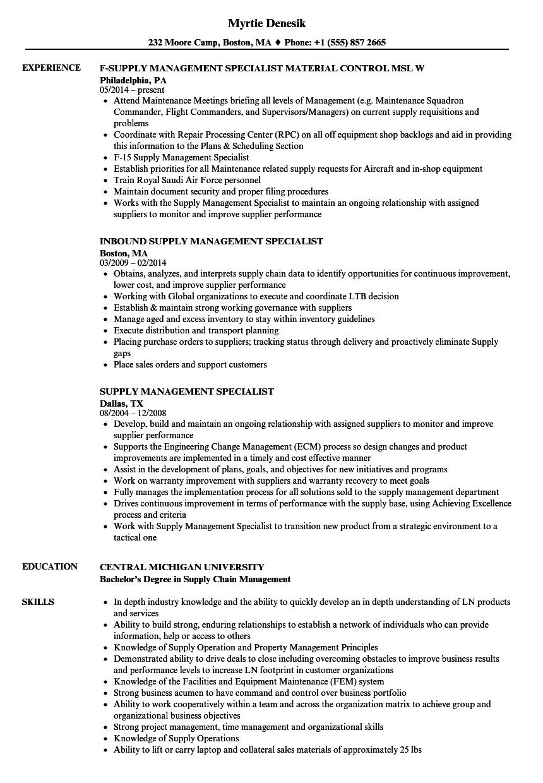 unit supply specialist resume sample