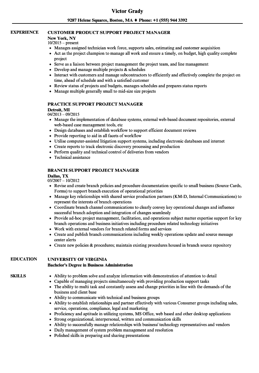 project manager job resume sample