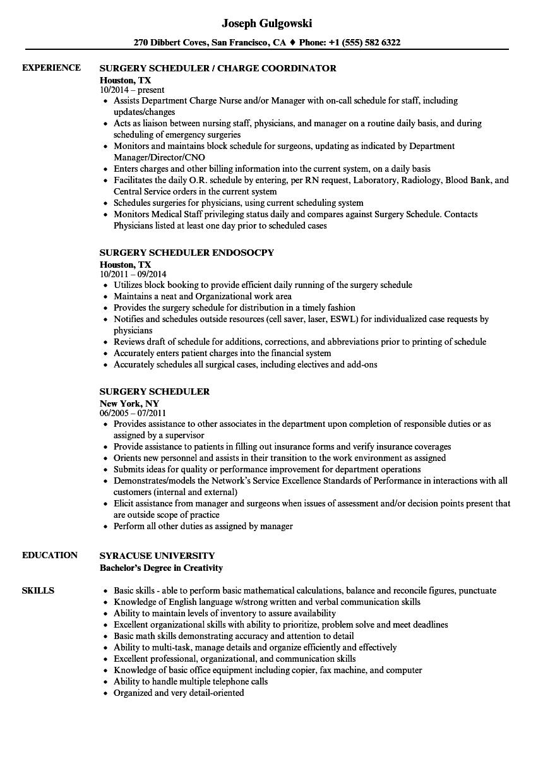 procedure scheduler resume example