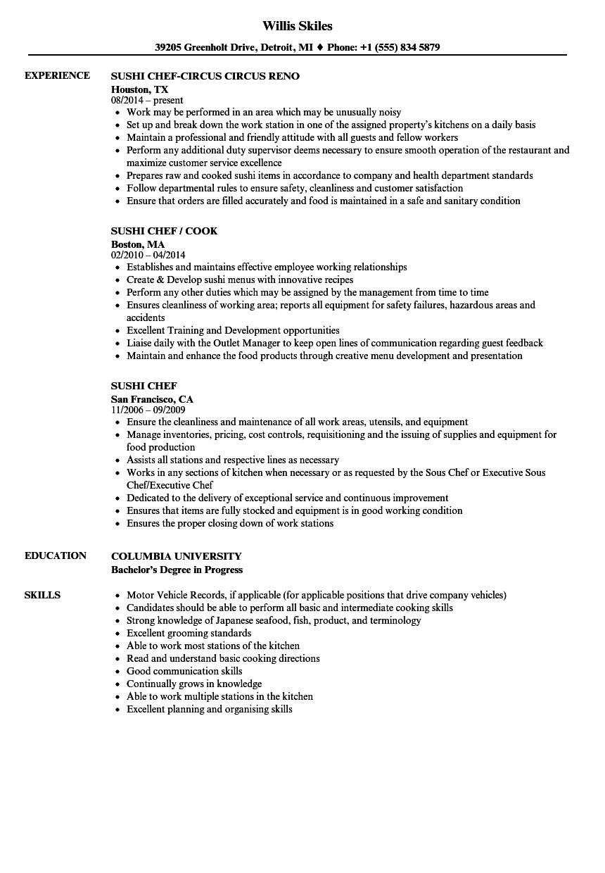 sushi chef resume examples