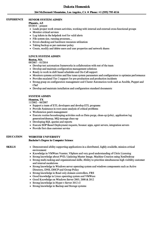 system admin resume