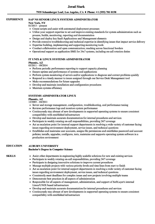 linux engineer resume sample