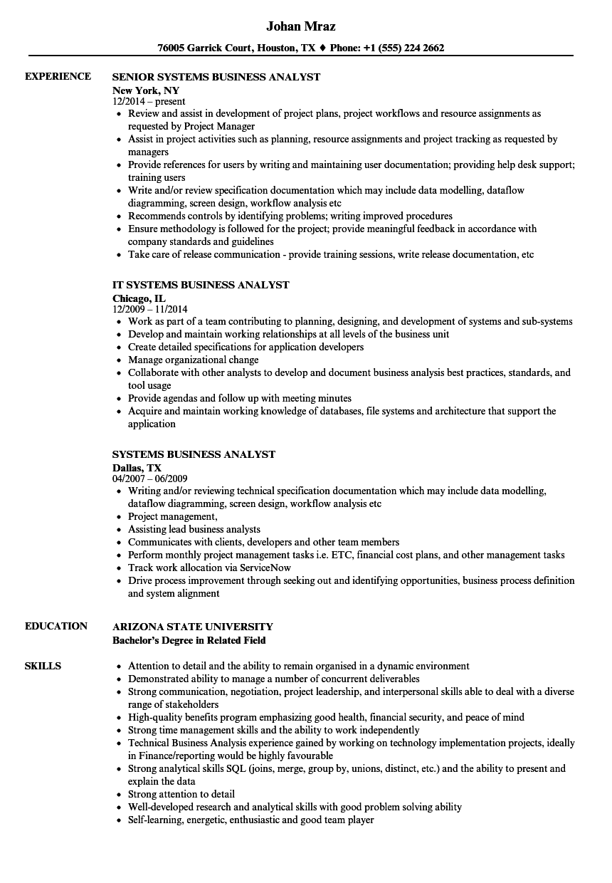 mainframe business analyst resume sample